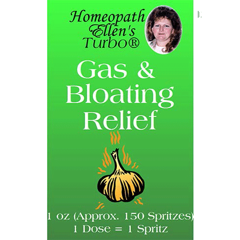 Homeopathic gas and bloating relief spritz.