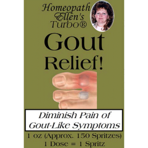 Homeopathic gout relief spritz remedy.